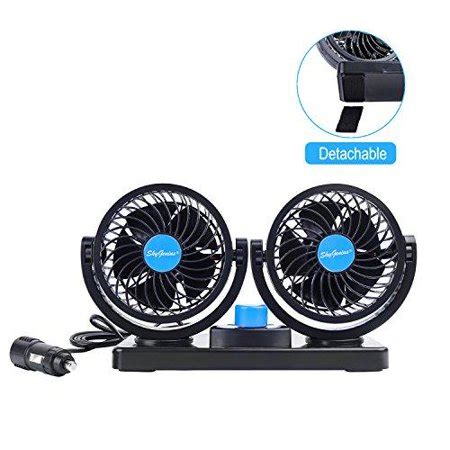 small but powerful fan 12v car fan with 360rotatable dual head 2