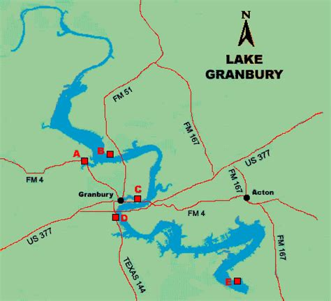 where is granbury texas on map lake granbury access