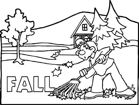 coloring pages of fall scenes seasons fall scene boy coloring page wecoloringpage