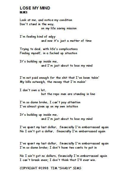 my lyrics original 108 best images about tim quot shady quot sims poetry lyrics
