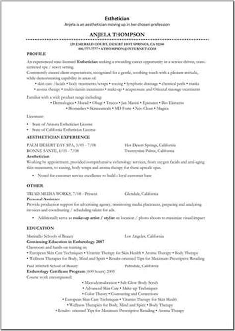 Cover Letter Exles For Esthetician by Esthetician Resume Sle 28 Images Esthetician Resume