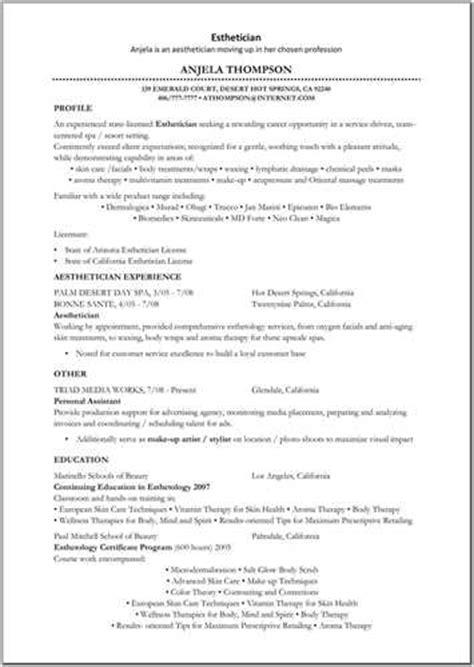 sle resume for esthetician esthetician resume sle 28 images sle resume format for