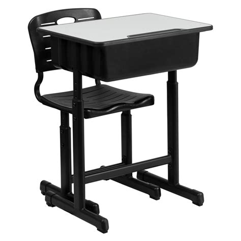 Adjustable Height Student Desk And Chair With Black Student Desk And Chair