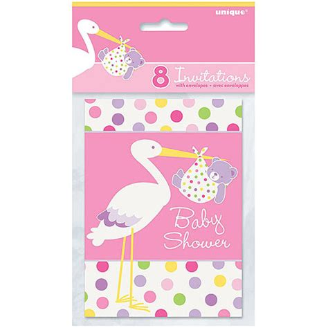 pink stork baby shower invitations 8pk walmart