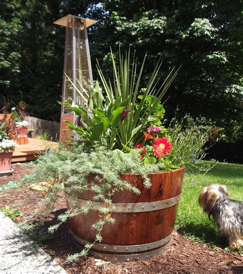 whiskey barrel planter board retreat project pinterest