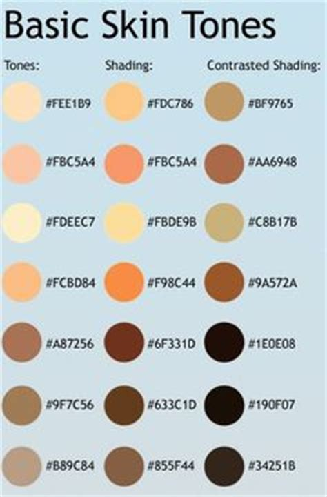 rgb and hex codes for different skin and hair tones general code for