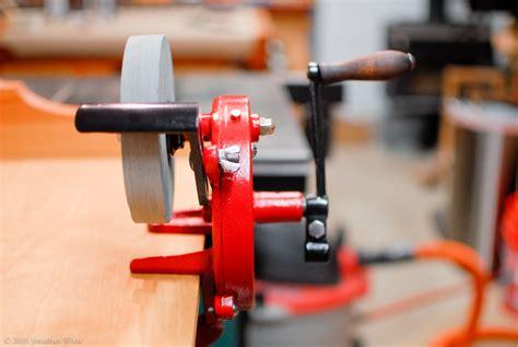 hand powered bench grinder tool restoration hand cranked grinder the bench blog