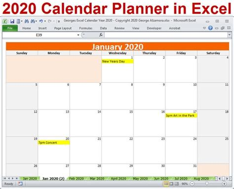 calendar year planner excel template  monthly etsy