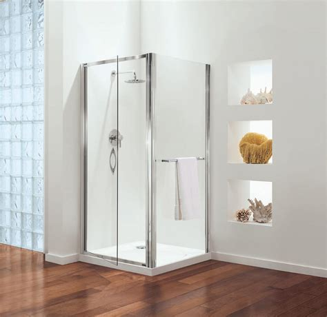 Coram Premier Pivot Door Shower Enclosure 760mm Satin Pivot Door Shower Enclosure