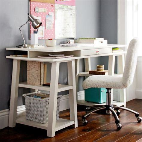 pb desk customize it storage trestle desk pbteen