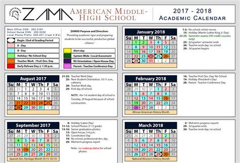 Middle School Calendar by Zama American Mhszama American Middle High School