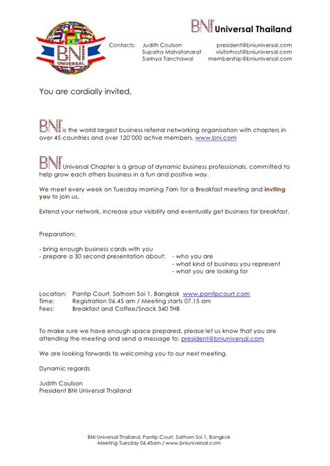 Invitation Letter Format For Thailand Visa Bni Universal Meeting Invitation Letter