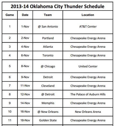 Okc Thunder Schedule Printable