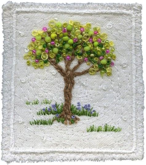 beading tree beaded embroidered tree embriodery