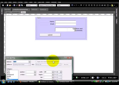 expression web tutorial youtube expression web 3 4 part 2 style the form with css