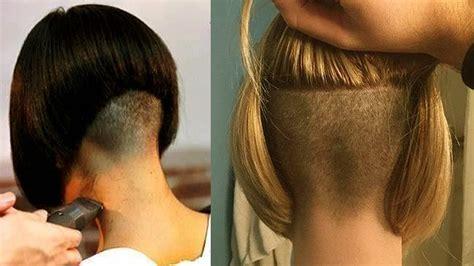 Extreme Bob Nape Shave   Nape Shaving Women   Bob Haircut