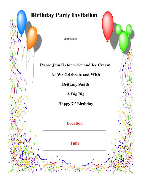 birthday invitation card template birthday invitations gangcraft net