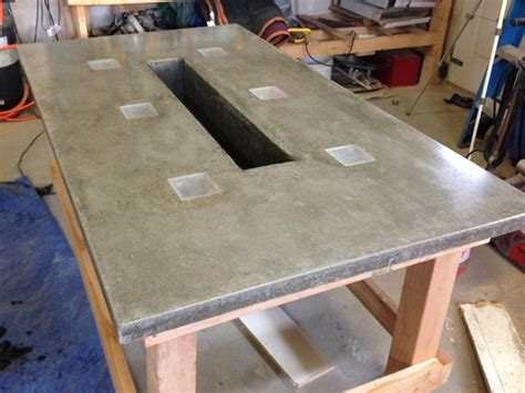 Cement Patio Table Led Concrete Patio Table With Built In Beverage Cooler Make