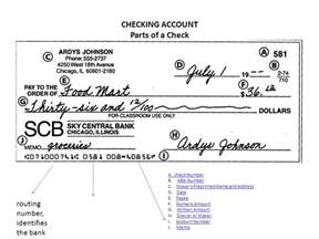 checking account parts of a check ppt