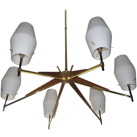 Mid Century Modern Chandelier Lighting Mid Century Modern Walnut Brass And Opaque Glass Chandelier For Sale At 1stdibs