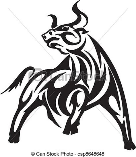 monochrome drawing bull tribal patterns on stock vector vector of bull in tribal style vector image black and