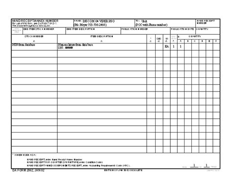 army hand receipt form xfdl