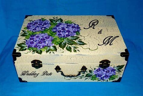 Hand Painted Wedding Suitcase Card Box Wood Wedding