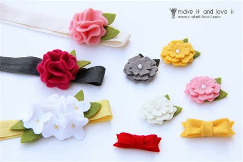 free patterns and instruction on making flower hair clips wool felt hair accessories for baby make it and love it