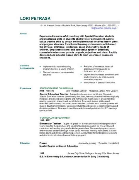 Sle Resume Templates For Teachers Resume Sales Lewesmr