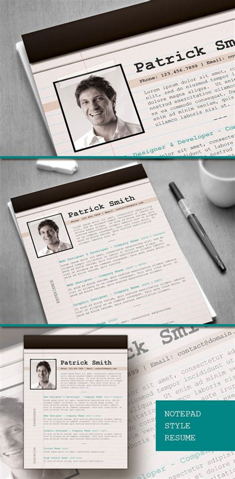 Resume Template Notepad by Notepad Style Resume Design Fancy Resumes
