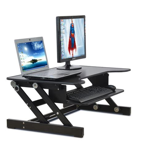 Computer Desk Monitor Stand Easyup Height Adjustable Sit Stand Desk Riser Foldable Laptop Desk Stand With Keyboard Tray