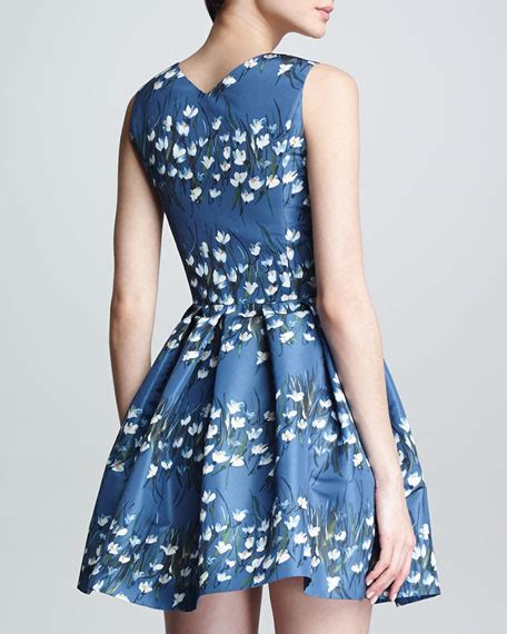 Valentino Sweetheart Bag by Valentino Sweetheart Neck Floral Fit And Flare Dress Blue