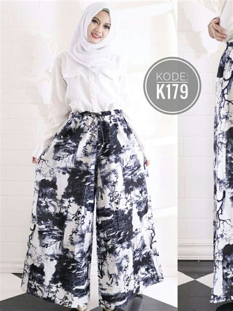 Celana Kulot Lebar Putih kulot motif lebar k179 baju style ootd