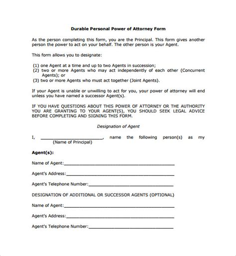 sle durable power of attorney form sle durable