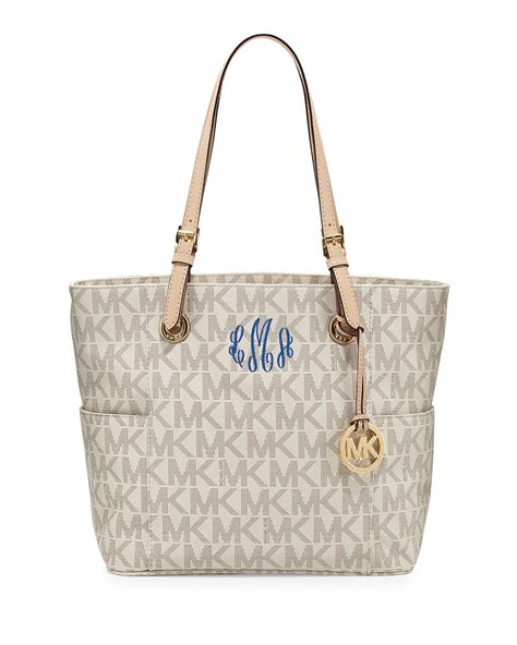 Bag Item michael michael kors jet set logo monogram item tote in