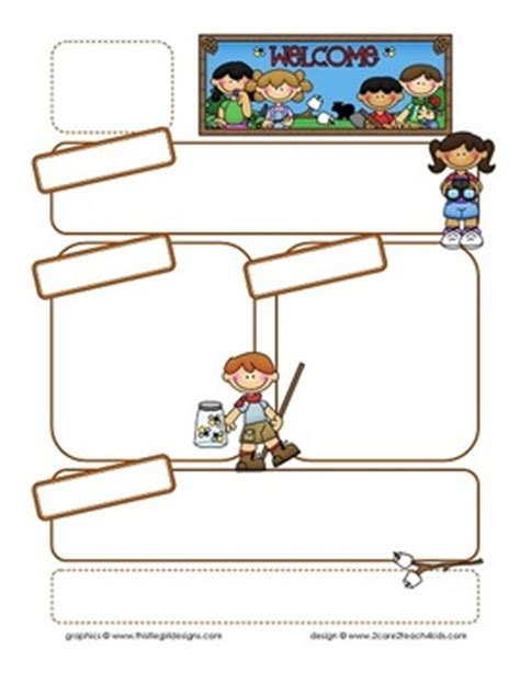 camping kids newsletter template blank headings