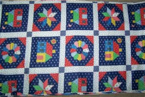 Quilts N Calicoes by Vintage Blue Cotton Fabric Cheater Country Quilt Calico Blocks By The Yard