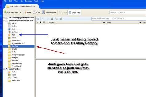 junk mail not moving to junk folder thunderbird support