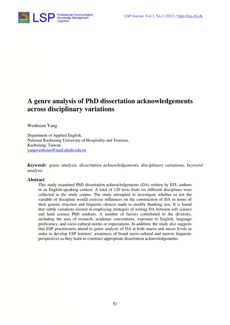 thesis acknowledgement format pdf a genre analysis of phd dissertation acknowledgements
