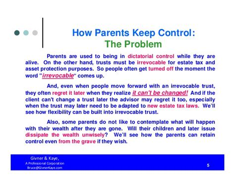 irc section 677 how parents keep control both during their lifetimes and