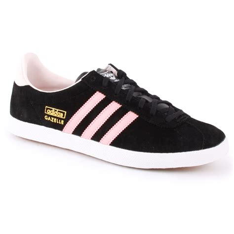adidas gazelle og d67854 womens trainers in black pink