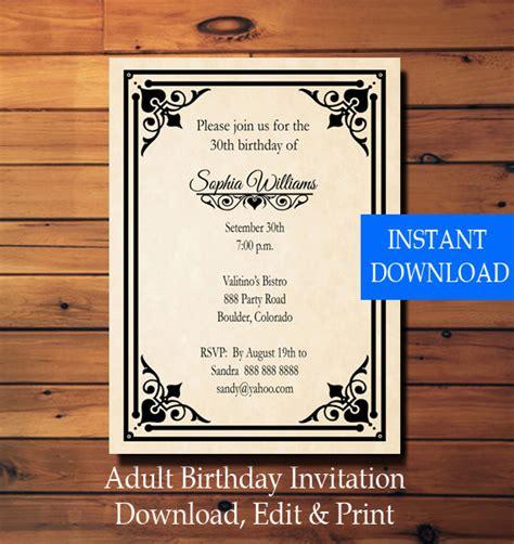 instant printable birthday invitations printable adult birthday invitation template retro