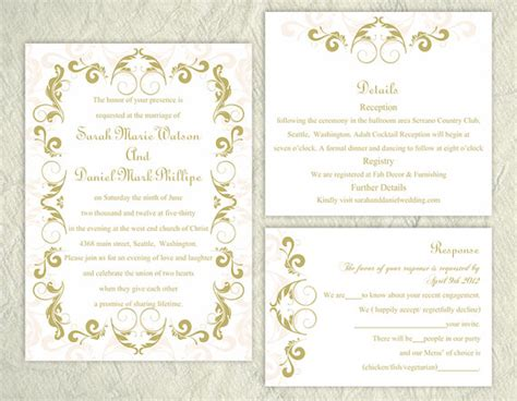 text templates for wedding invitations diy wedding invitation template set editable text word