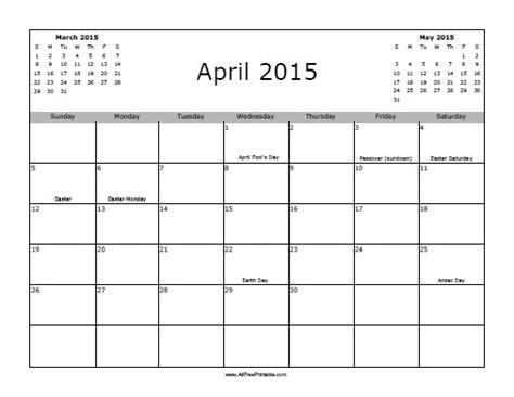 printable calendar 2015 april april 2015 calendar with holidays free printable