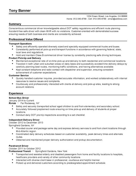 Transportation Assistant Sle Resume by Professional School Driver Templates To Showcase Your Talent Myperfectresume