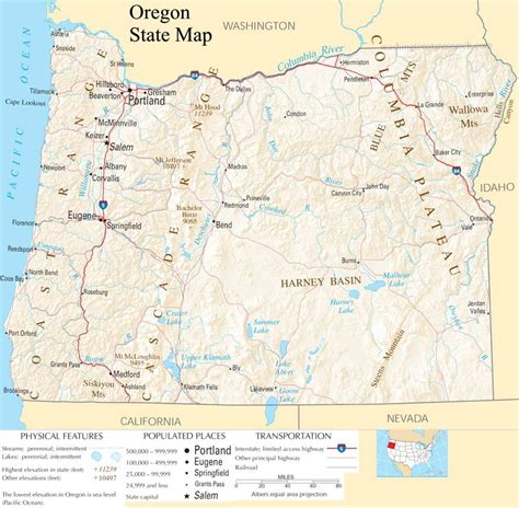Oregon State Search Oregon State Map A Large Detailed Map Of Oregon State Usa