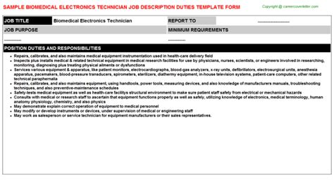 Electronics Technician Description by Biomedical Electronics Technician Description Sle Descriptions And Duties