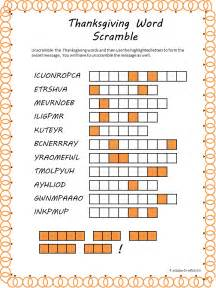 printable thanksgiving crossword puzzles thanksgiving word scramble