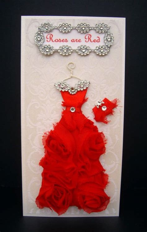 Handmade Card Sizes - roses are personalized dress card dl size handmade