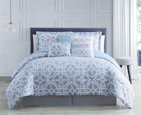 7 piece irene blue gray white comforter set